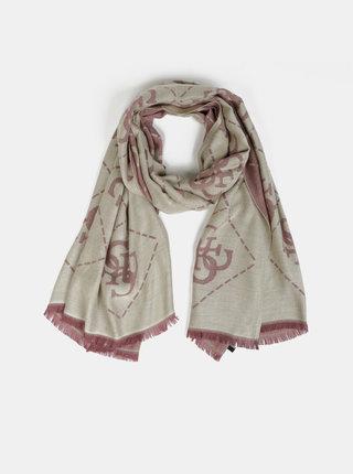 Růžovo-béžový dámský vzorovaný šátek Guess