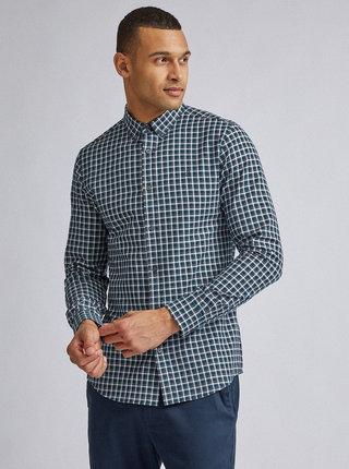 Zelená kockovaná slim fit košeľa Burton Menswear London