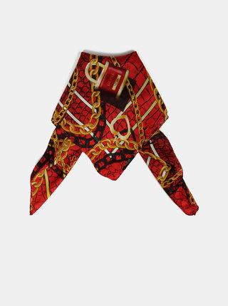 Červený dámský vzorovaný šátek s příměsí hedvábí Guess