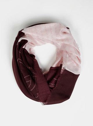 Růžovo-vínový dámský vzorovaný šátek Guess