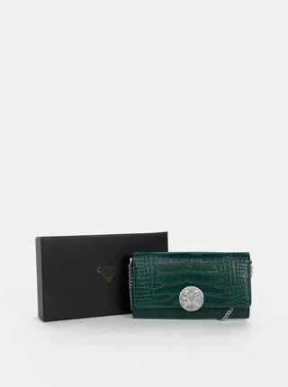 Tmavě zelené kožené psaníčko/peněženka s hadím vzorem Guess