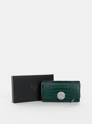 Tmavozelená kožená listová kabelka/peňaženka s hadím vzorom Guess