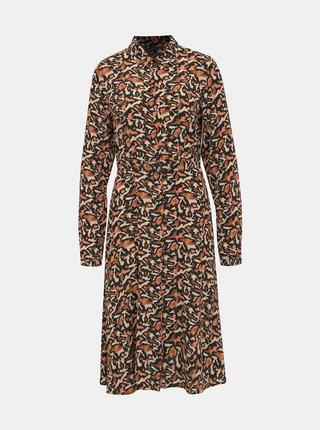 Hnedé vzorované košeľové šaty VERO MODA Cambria