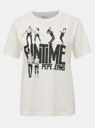 Bílé dámské tričko s potiskem Pepe Jeans CInamon