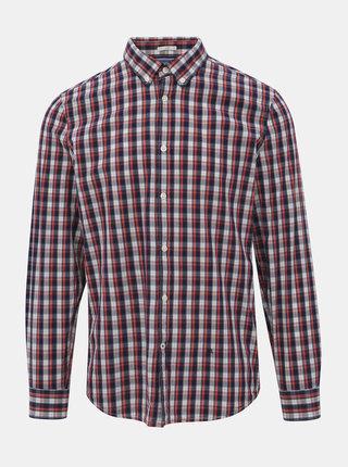 Modro-červená pánska kockovaná slim fit košeľa Pepe Jeans Albert