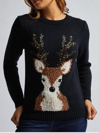 Tmavomodrý sveter s vianočným motívom Dorothy Perkins