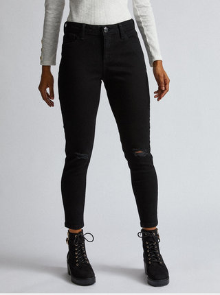 Černé zkrácené skinny fit džíny Dorothy Perkins Petite Darcy