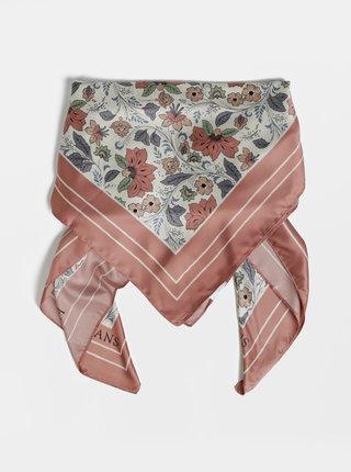 Růžovo-krémový květovaný šátek Pepe Jeans Nella