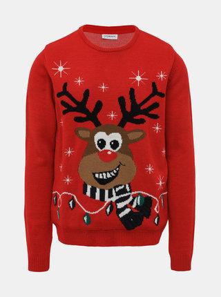 Červený svietiaci sveter s vianočným motívom Lindbergh