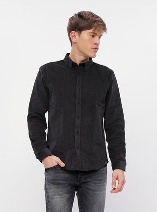 Čierna menčestrová košeľa Shine Original