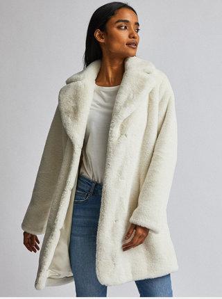 Krémový kabát z umělé kožešiny Dorothy Perkins Petite