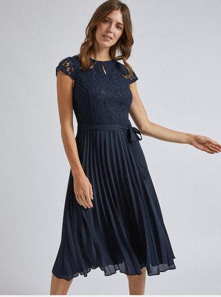 Tmavomodré šaty s plisovanou midi sukňou Dorothy Perkins