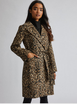 Hnědý kabát s leopardím vzorem Dorothy Perkins Petite