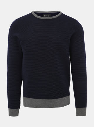 Tmavomodrý sveter Selected Homme Giles
