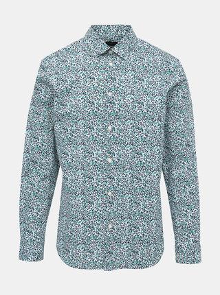 Světle zelená vzorovaná slim fit košile Selected Homme NIgel