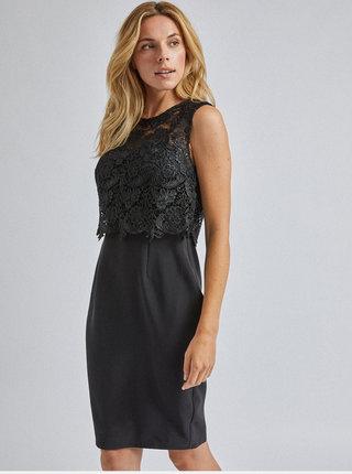 Čierne púzdrové krajkové šaty Dorothy Perkins