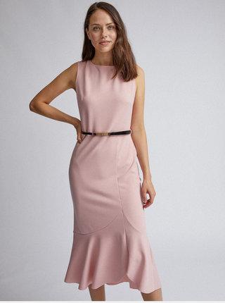 Růžové pouzdrové šaty s volánem Dorothy Perkins