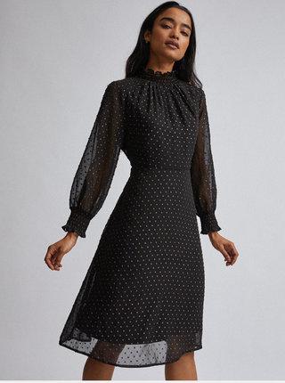 Čierne bodkované šaty Dorothy Perkins Petite