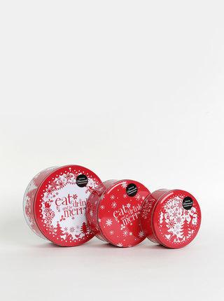 Sada tří červených plechových dóz s vánočním motivem Cooksmart