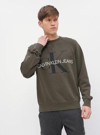 Kaki pánska mikina s potlačou Calvin Klein Jeans