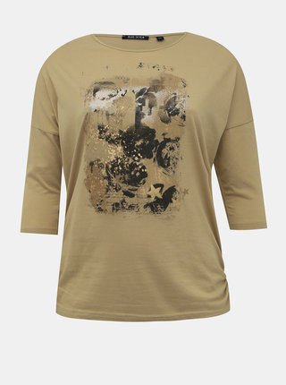 Béžové dámské tričko s potiskem Blue Seven