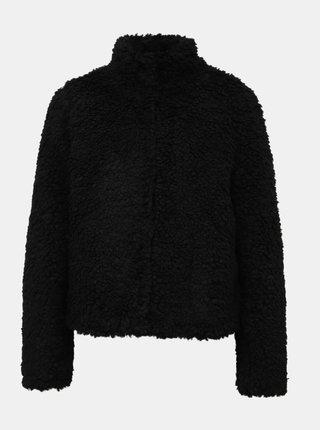 Čierny krátky kabát z umelej kožušiny VERO MODA Viriginia