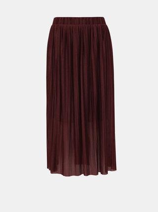Vínová plisovaná midi sukně VERO MODA Seline