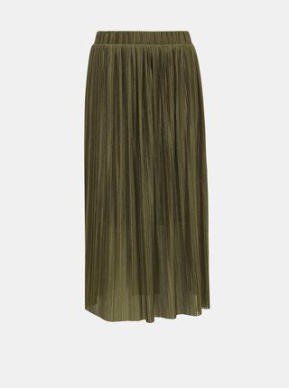Khaki plisovaná midi sukně VERO MODA Seline