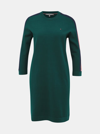 Zelené svetrové šaty s pásom Tommy Hilfiger