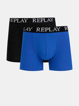 Sada dvou boxerek v černé a modré barvě Replay