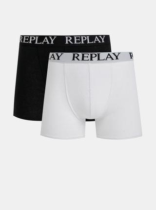 Sada dvou boxerek v černé a bílé barvě Replay