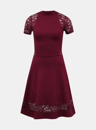 Vínové šaty s krajkou TALLY WEiJL Peoli