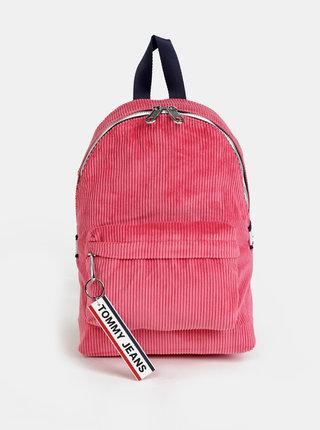 Rúžový dámsky menčestrový batoh Tommy Hilfiger
