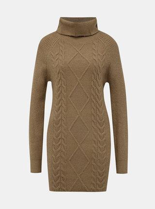 Hnědé svetrové šaty s rolákem TALLY WEiJL Typa