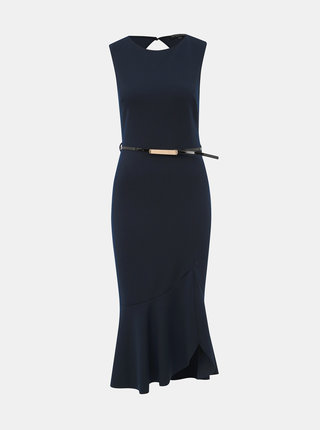 Tmavomodré púzdrové šaty s volánom Dorothy Perkins