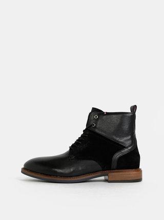 Čierne pánske kožené členkové topánky so semišovými detailmi Tommy Hilfiger