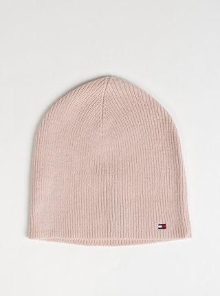 Růžová dámská čepice s příměsí vlny Tommy Hilfiger