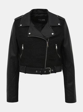 Čierna koženková bunda TALLY WEiJL Fixt