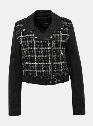 Čierna kockovaná koženková bunda TALLY WEiJL Fixt