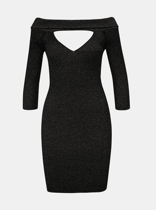Čierne trblietavé púzdrové šaty s priestrihmi TALLY WEiJL Satu