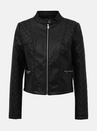 Černá koženková bunda Jacqueline de Yong Kia