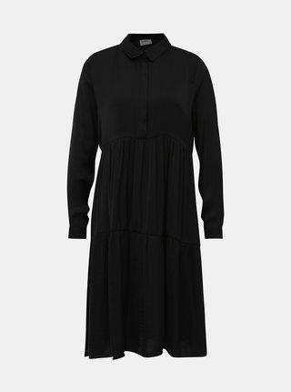 Čierne saténové košeľové šaty Jacqueline de Yong Appa