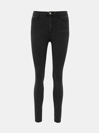 Tmavošedé pruhované skinny fit nohavice TALLY WEiJL Fana