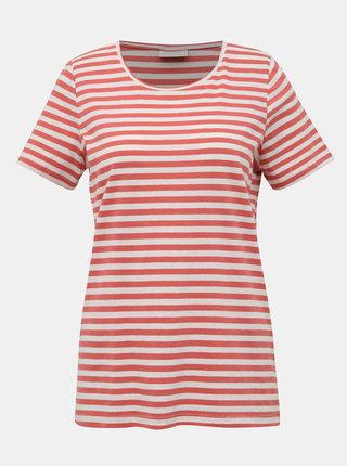 Bielo-rúžové pruhované basic tričko VILA Sus