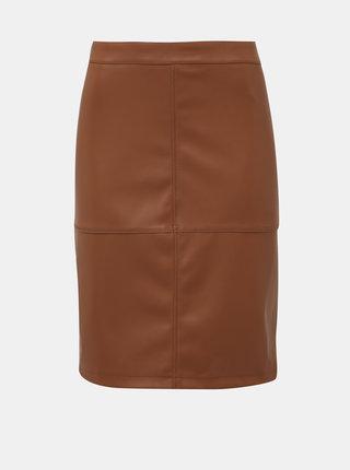 Hnědá koženková pouzdrová sukně VILA Pen