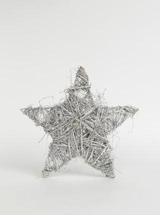 Světle šedá dekorace ve tvaru hvězdy Dakls 37 cm