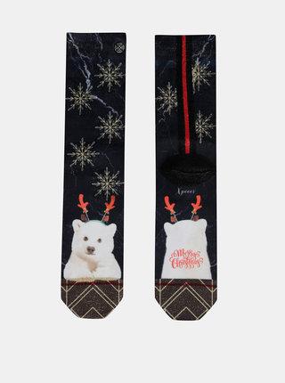 Tmavě modré dámské ponožky s vánočním motivem XPOOOS