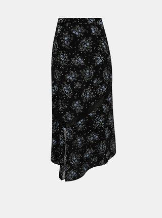 Černá květovaná maxi sukně s rozparkem Miss Selfridge
