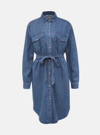 Modré rifľové košeľové šaty ONLY Belisima