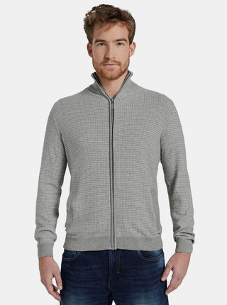 Svetlošedý pánsky sveter na zips Tom Tailor
